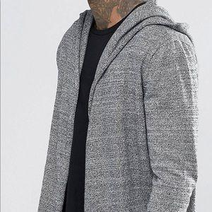 ASOS Grey Hooded Longline Cardigan Shawl Sz Small